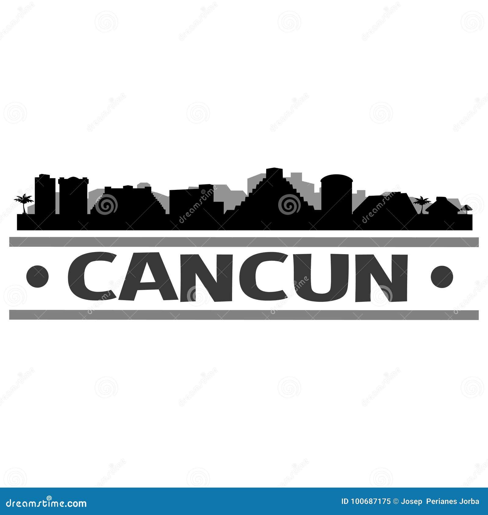 Cancun Skyline City Icon Vector Art Design Stock Vector