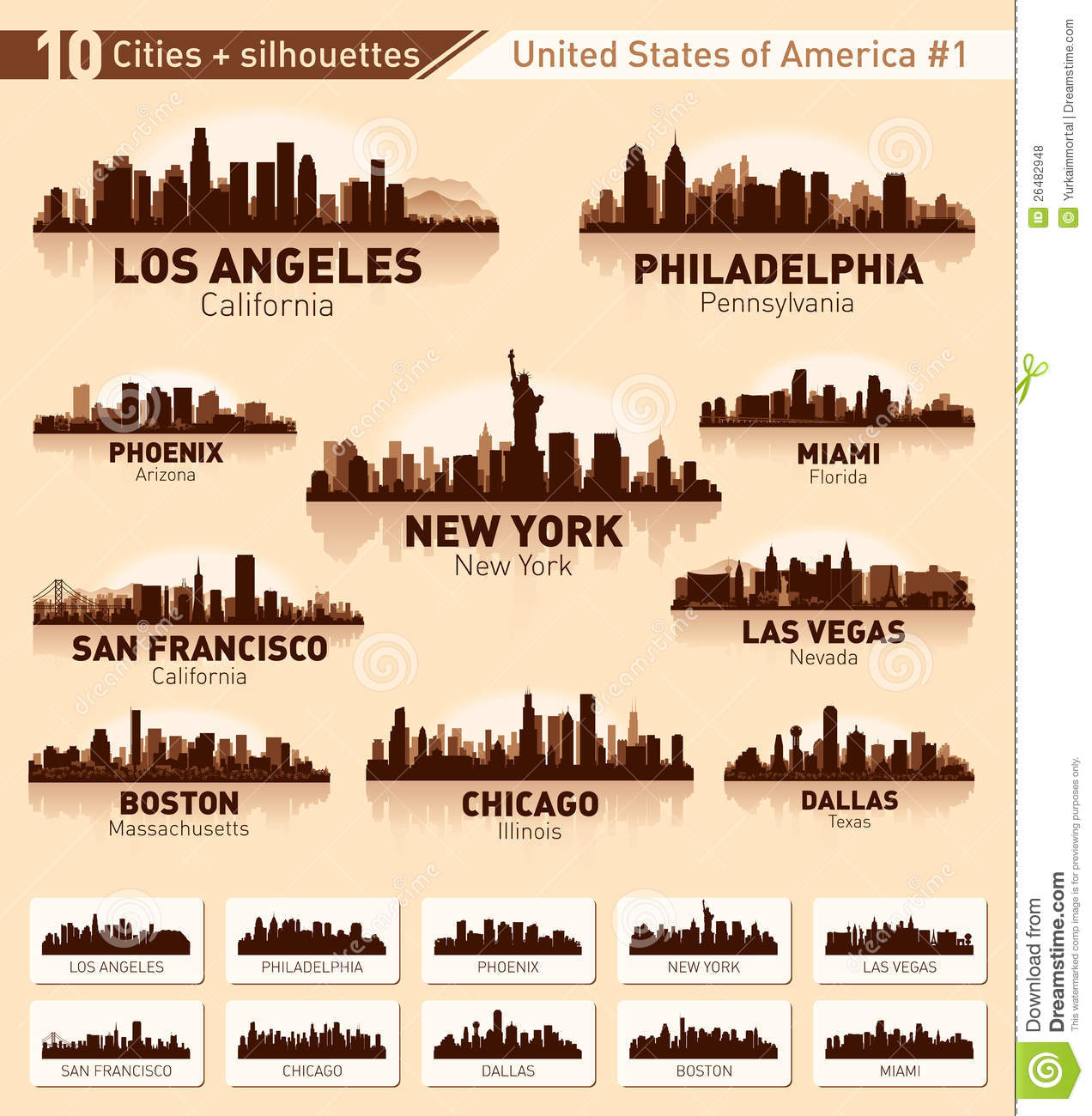 skyline city set  10 cities of usa  1 royalty free stock photos