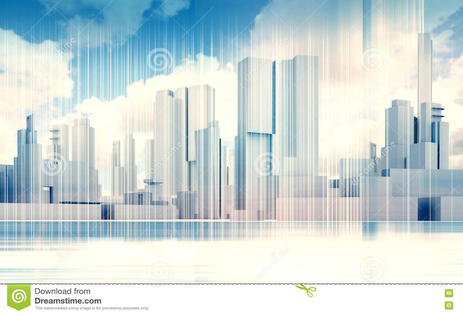 Skyline da arquitetura da cidade, céu dramático, quadro 3d do fio