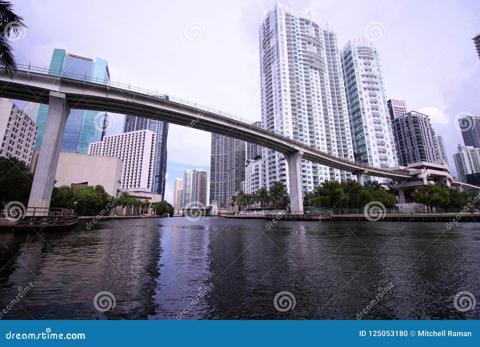 Skyline da cidade de Brickell e de Miami do centro com a ponte do trilho do motor do metro sobre o rio