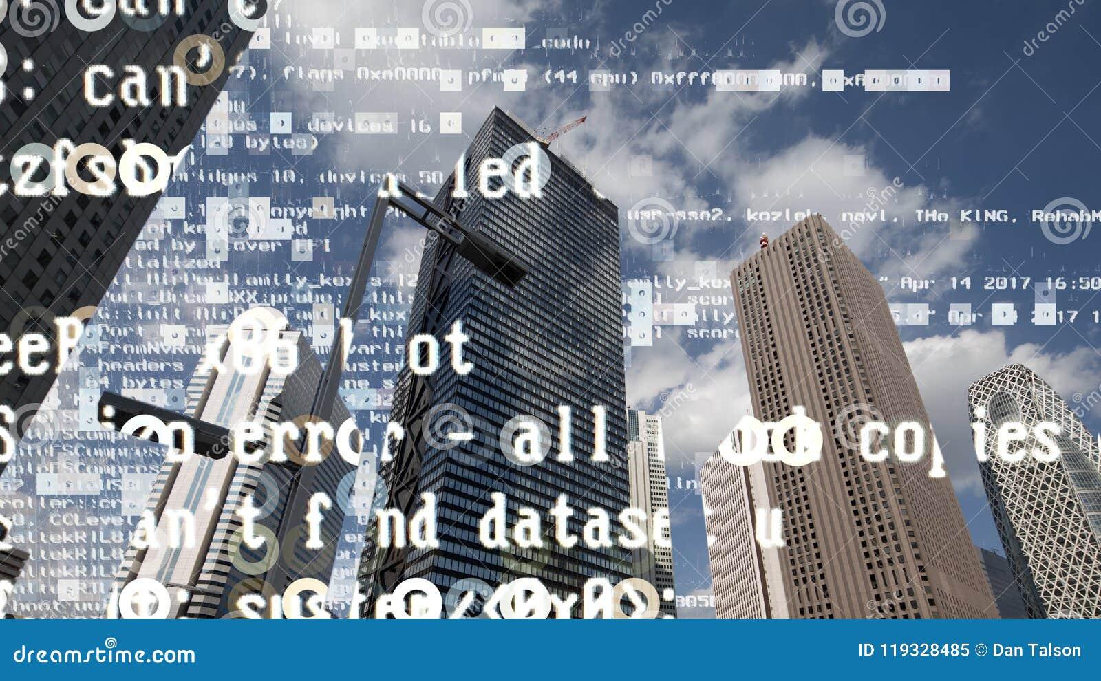 Skyline da cidade do Tóquio com código e dados