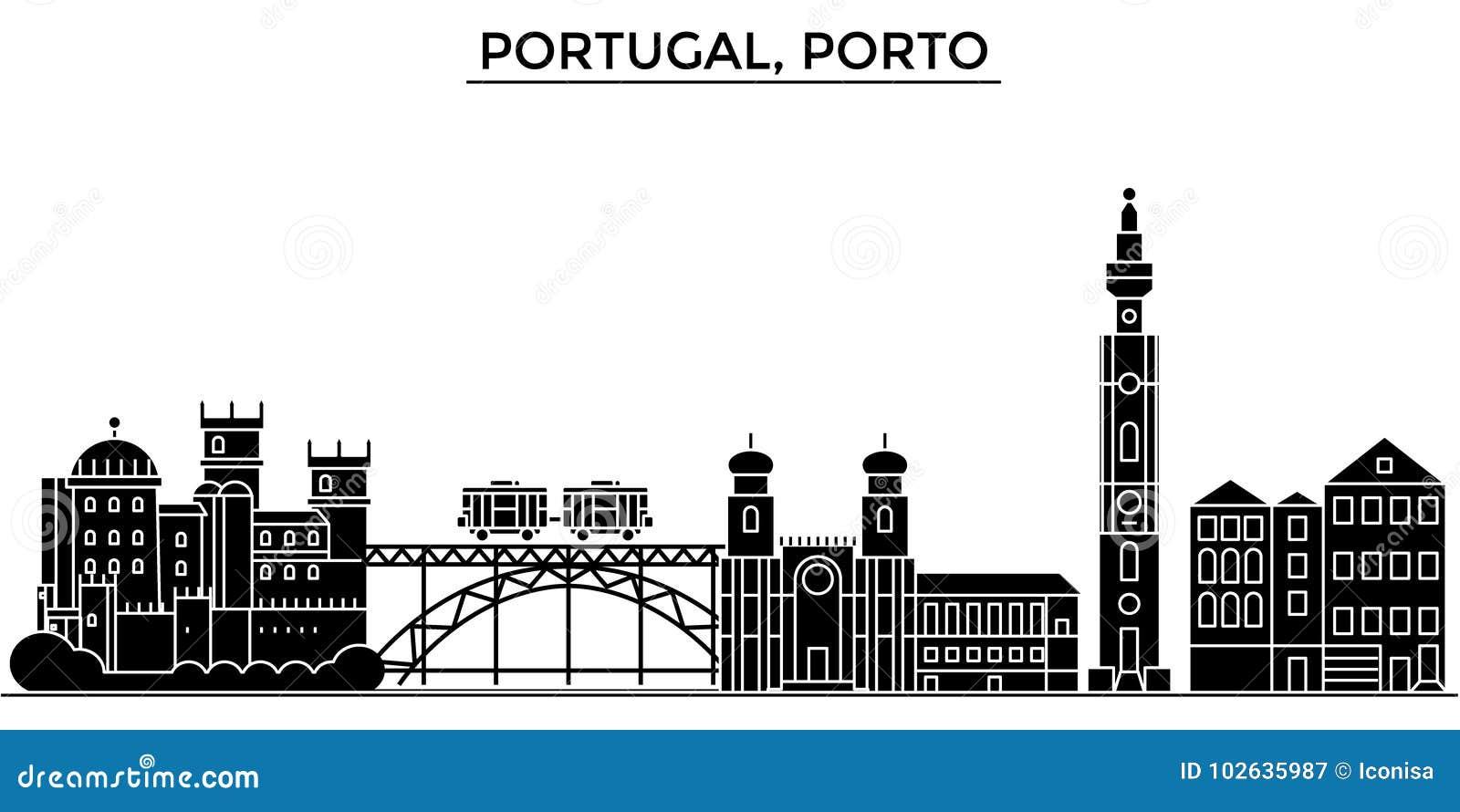 A skyline da cidade do vetor da arquitetura de Portugal, Porto, arquitetura da cidade do curso com marcos, construções, isolou vi