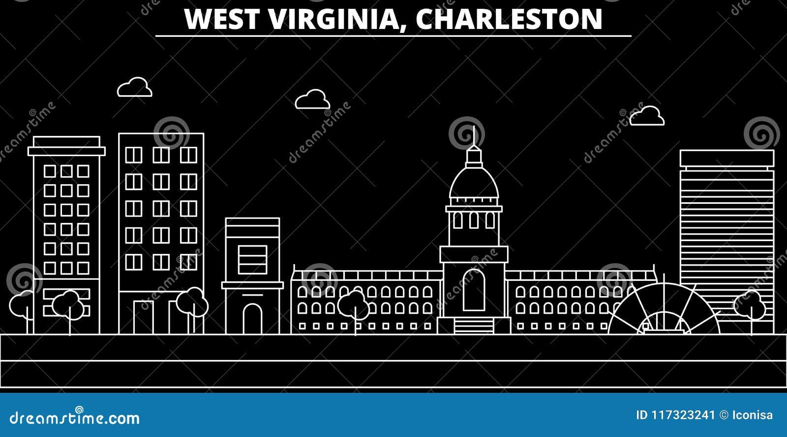 Skyline da silhueta de Charleston EUA - Cidade do vetor de Charleston, arquitetura linear americana, construções Linha de Charles