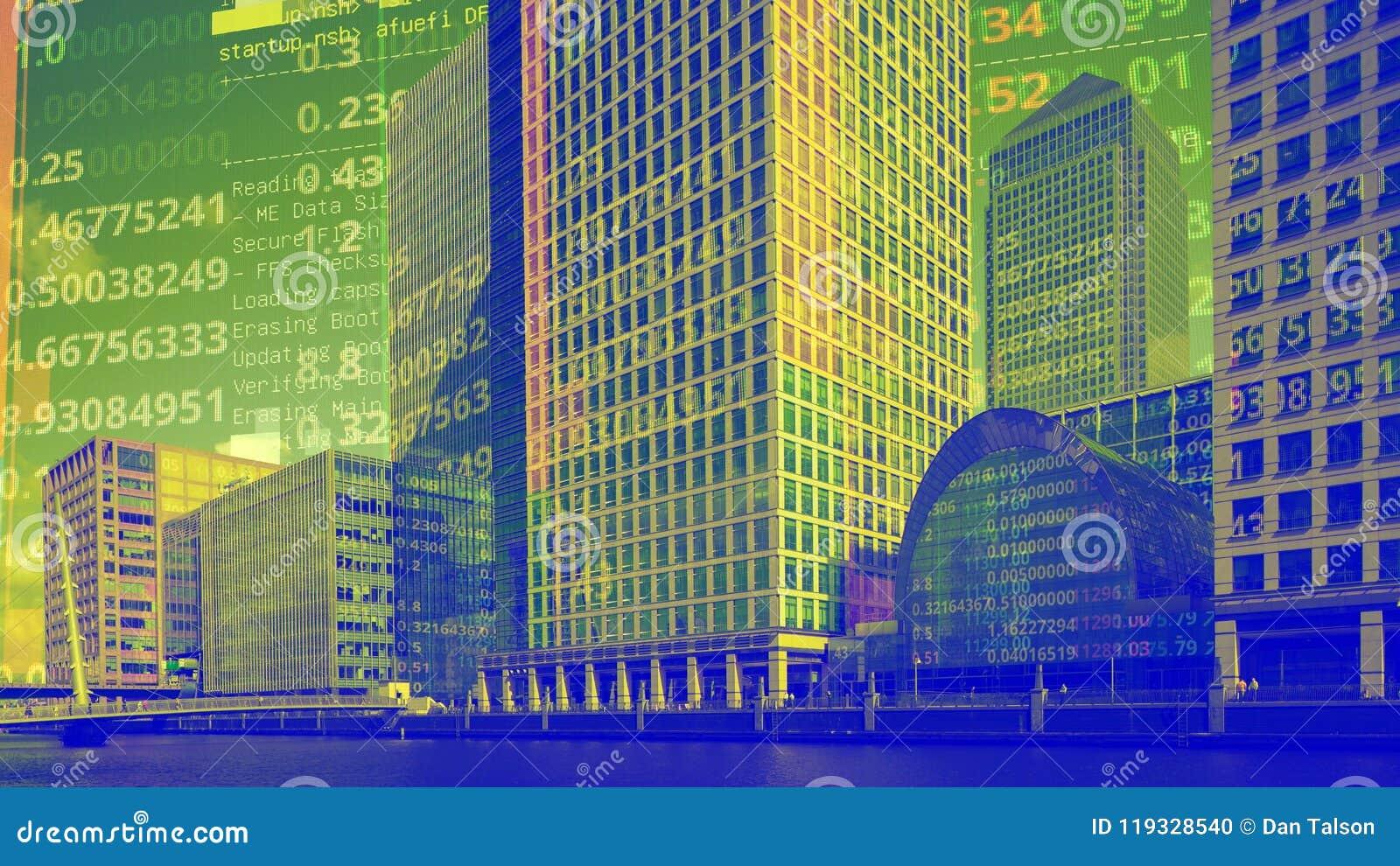 Skyline das zonas das docas de Londres com dados e código