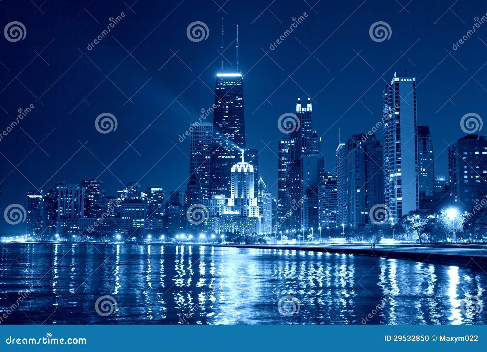Skyline de Chicago na noite