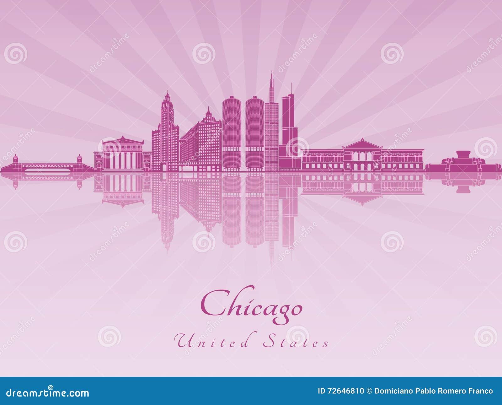 Skyline de Chicago na orquídea brilhante roxa