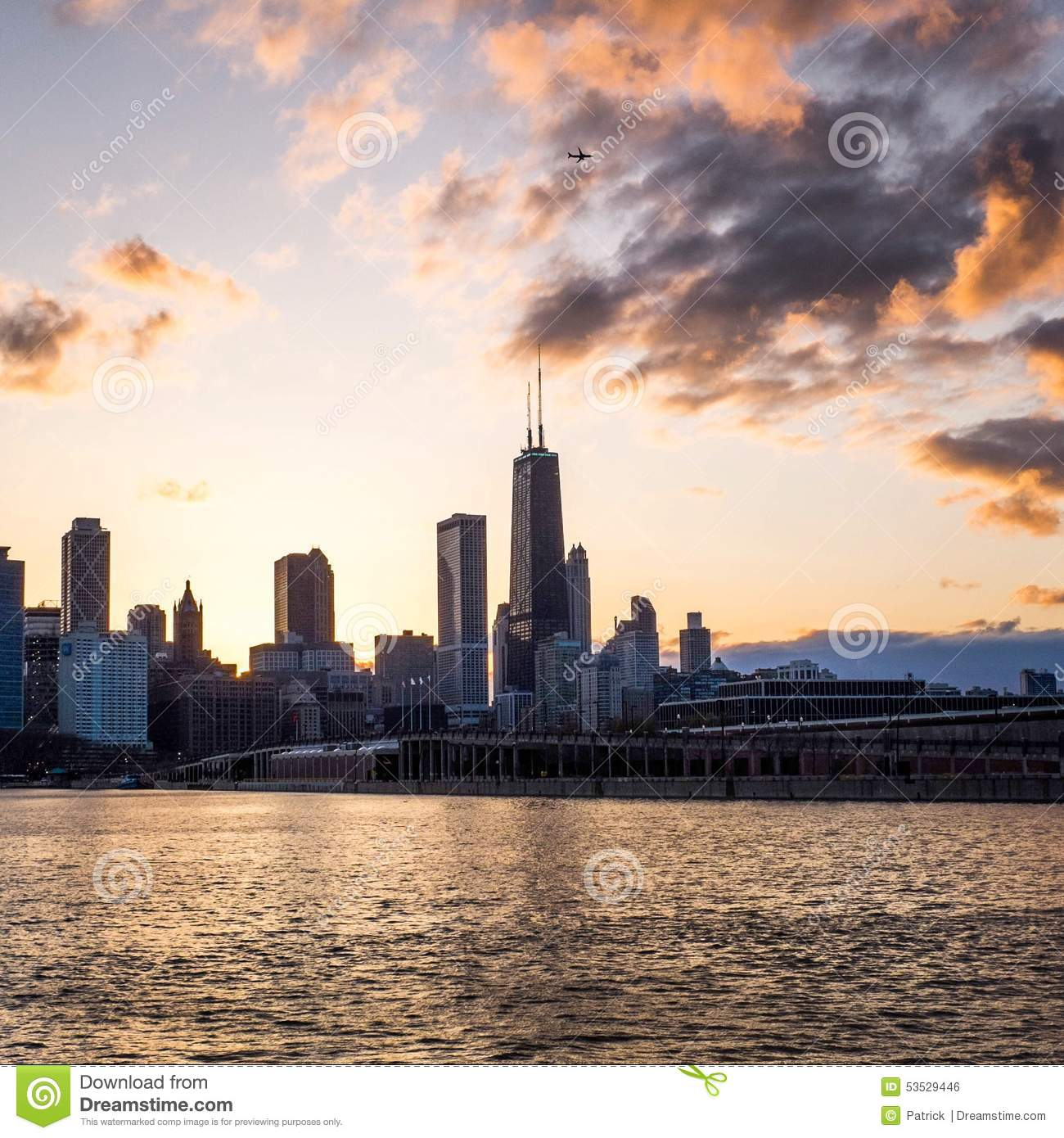 Skyline de Chicago no por do sol