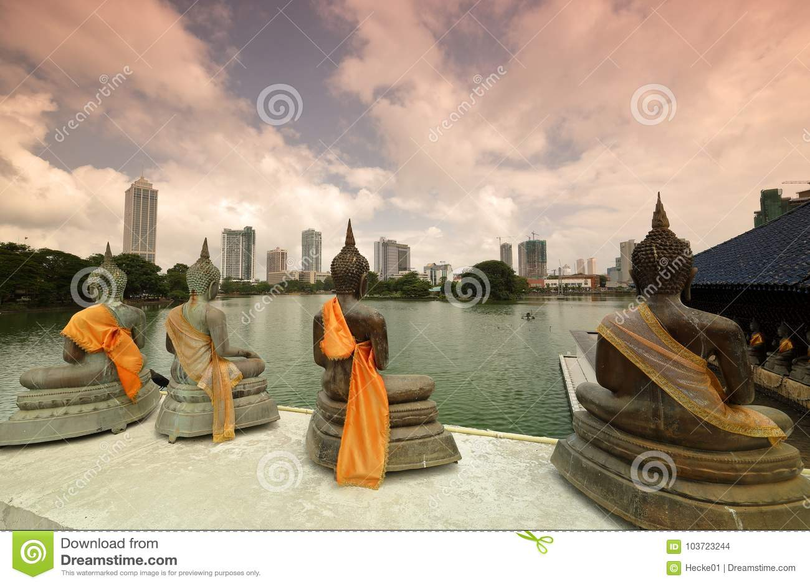 Skyline de Colombo em Sri Lanka