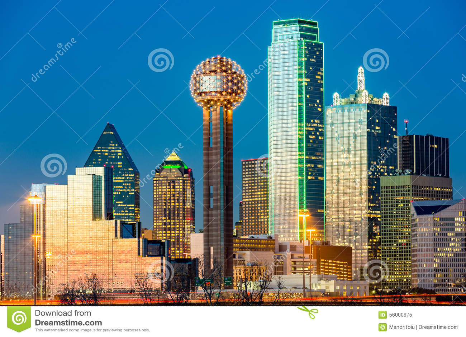 Skyline de Dallas no por do sol