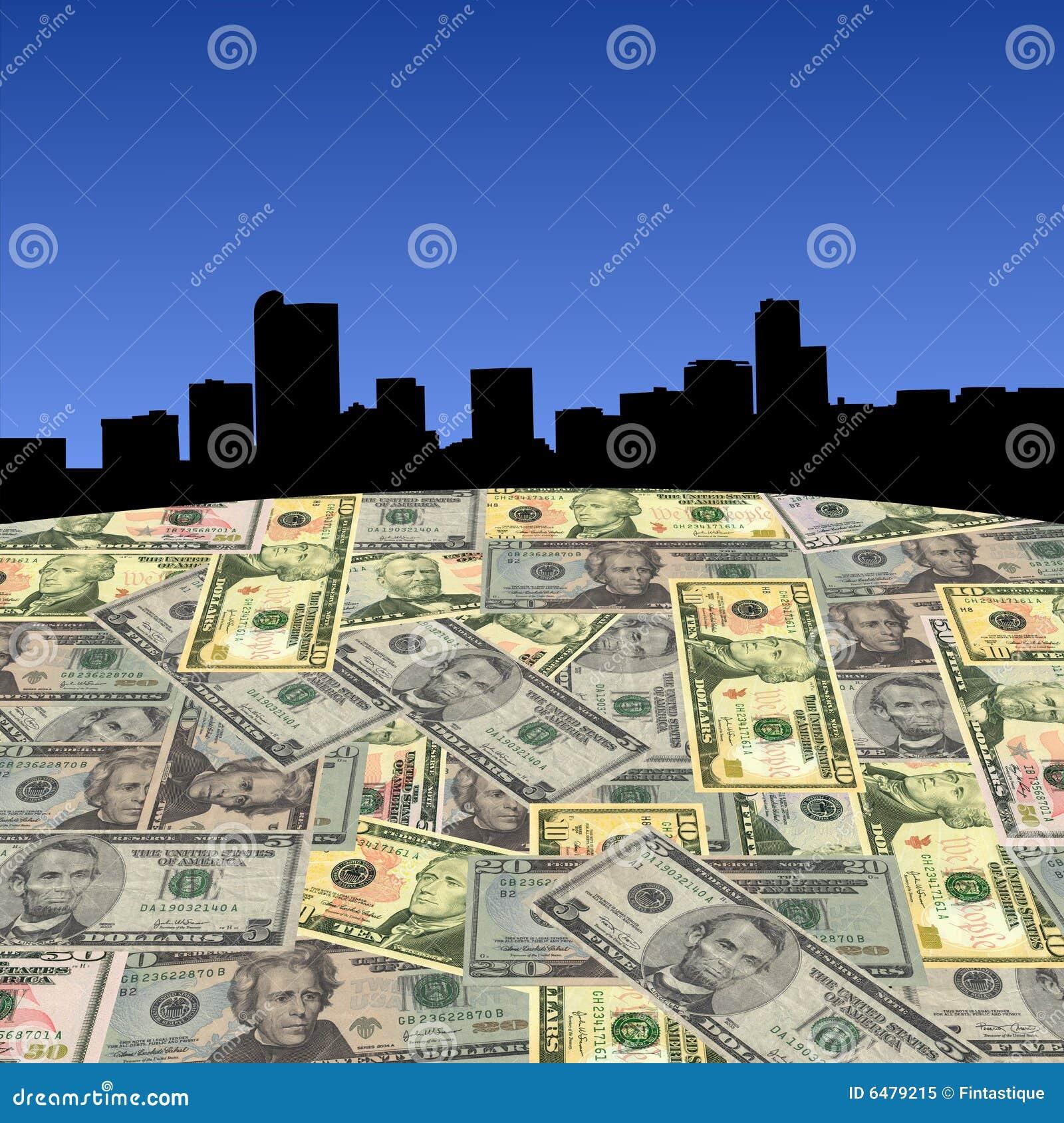 Skyline de Denver com dólares