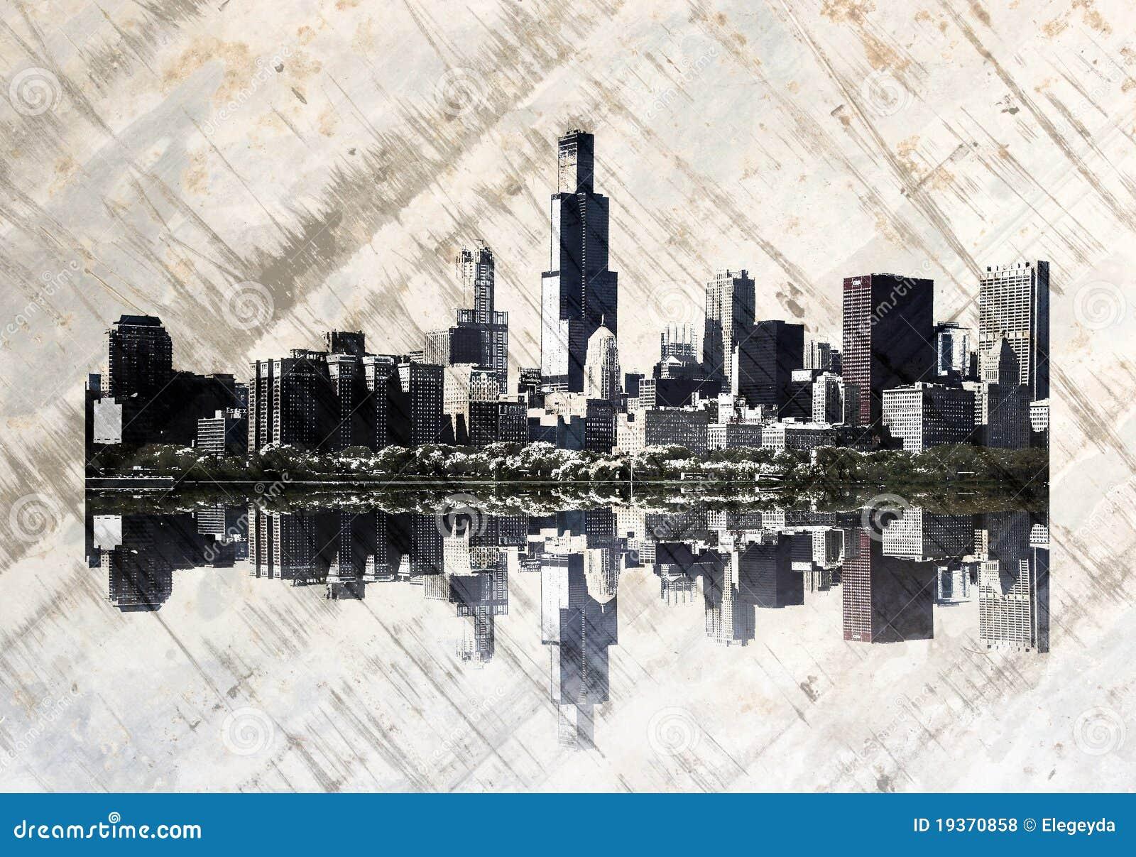 Skyline de Grunge Chicago