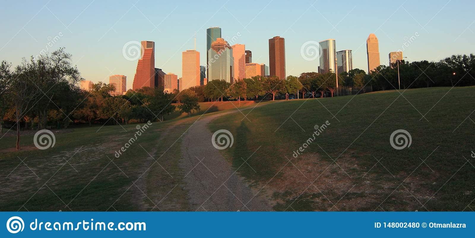 Skyline de Houston no por do sol