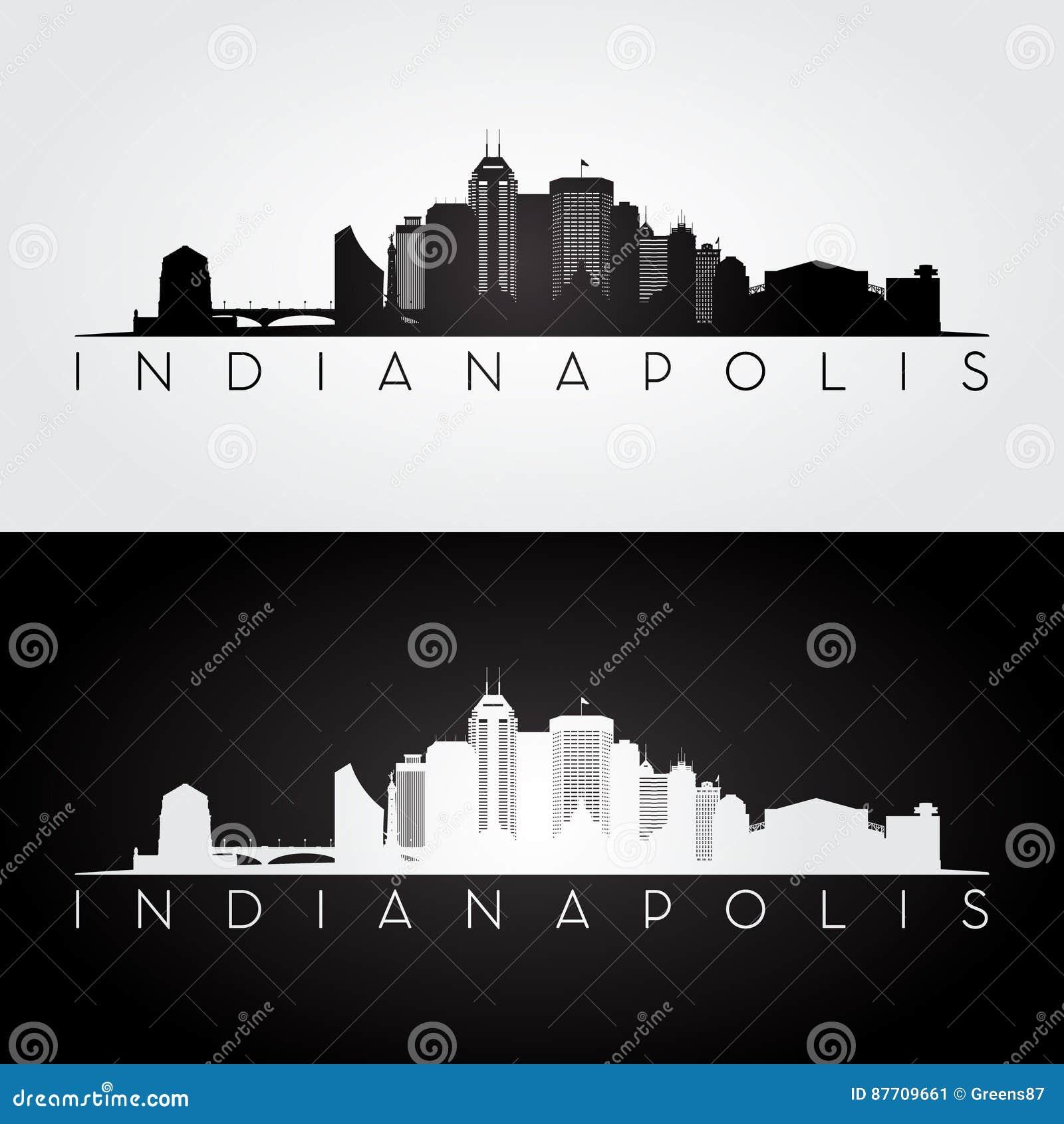 Skyline de Indianapolis EUA e silhueta dos marcos
