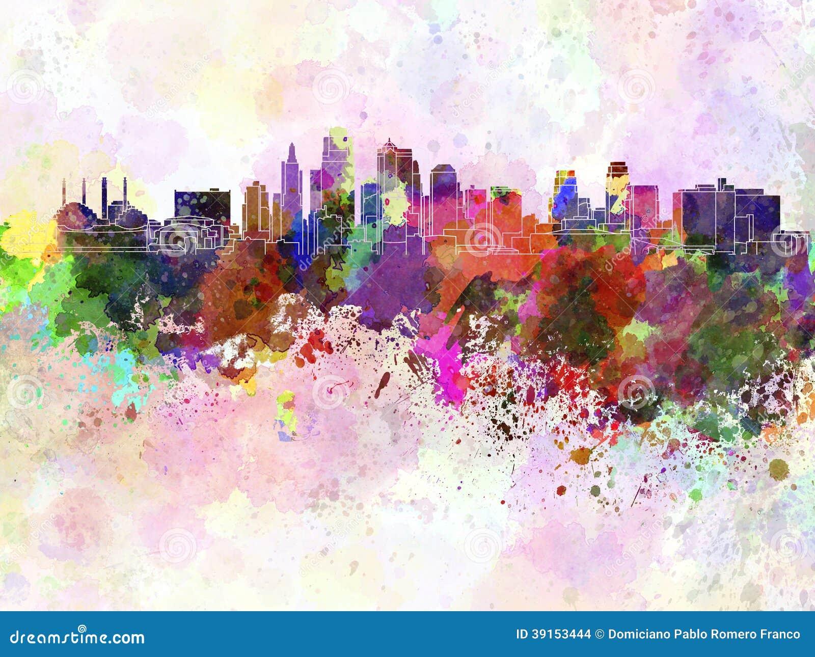 Skyline de Kansas City no fundo da aquarela