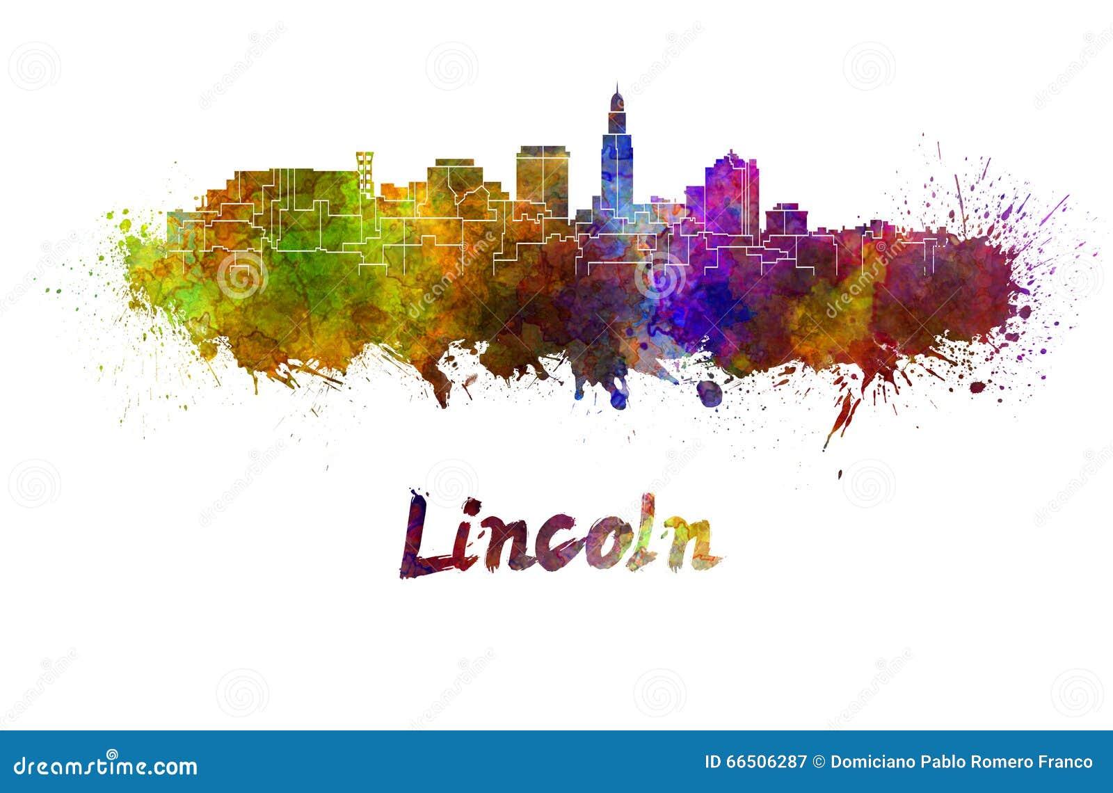 Skyline de Lincoln na aquarela