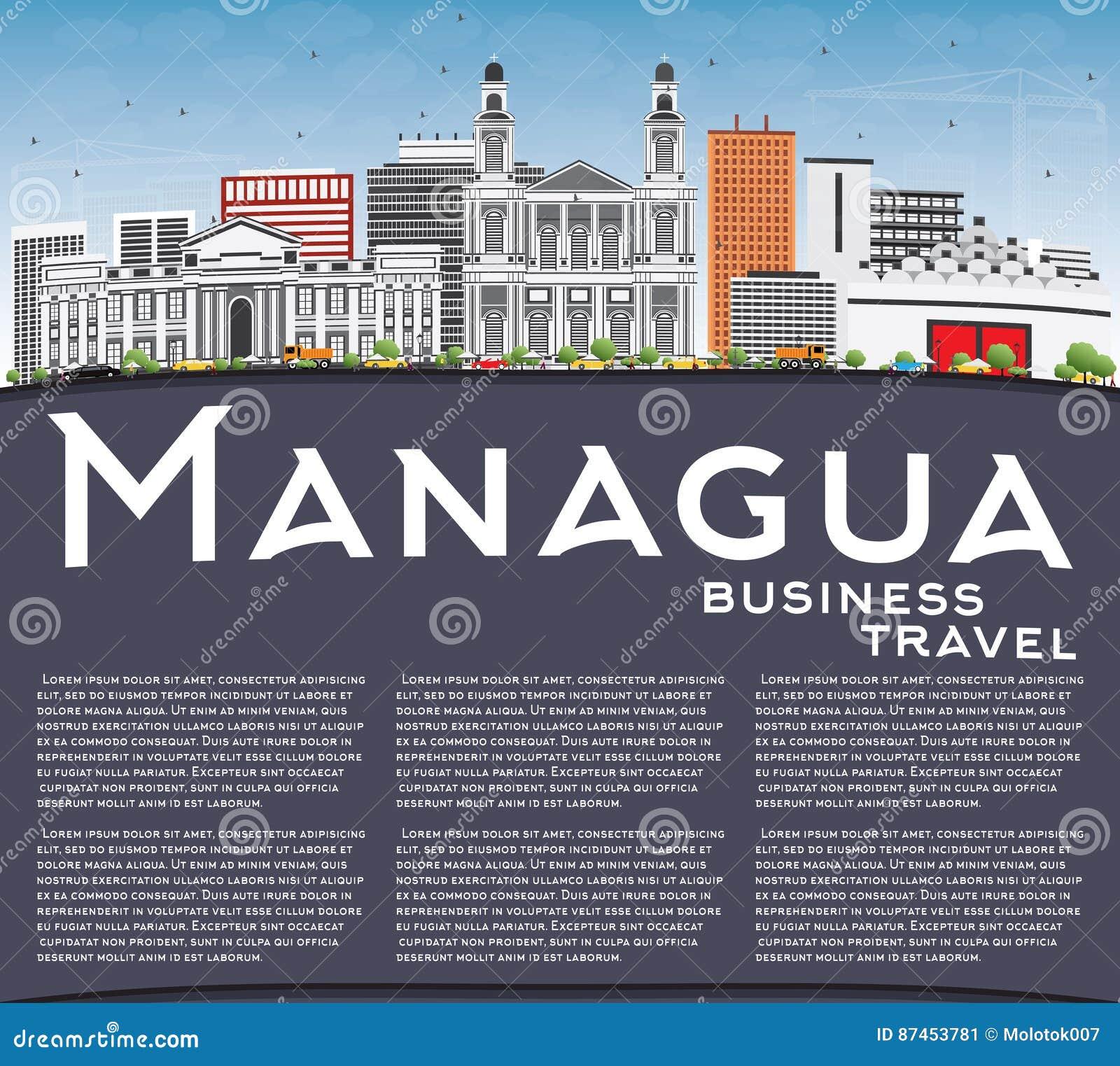 Skyline de Managua com Gray Buildings, o céu azul e o espaço da cópia