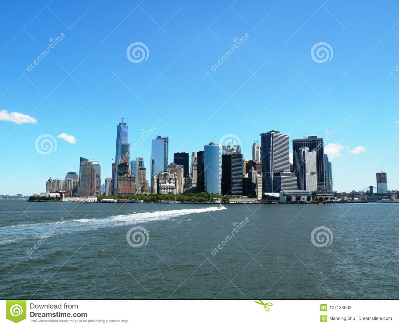 Skyline de Manhattan do porto de New York