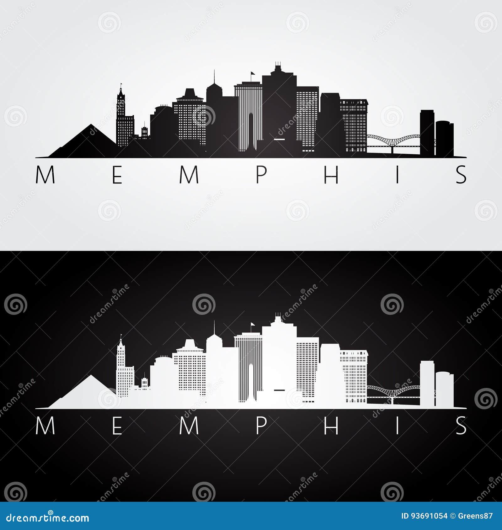 Skyline de Memphis, EUA e silhueta dos marcos