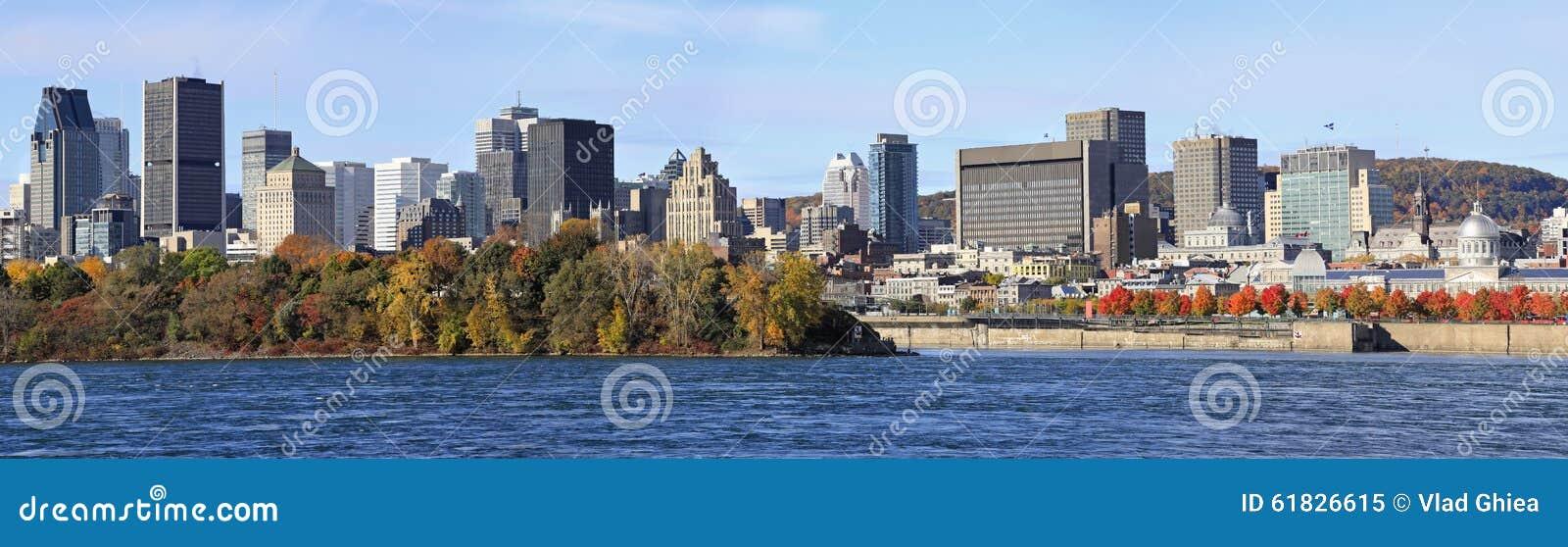 Skyline de Montreal e Saint Lawrence River no outono, Quebeque