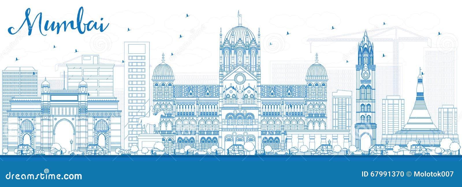 Skyline de Mumbai do esboço com marcos azuis