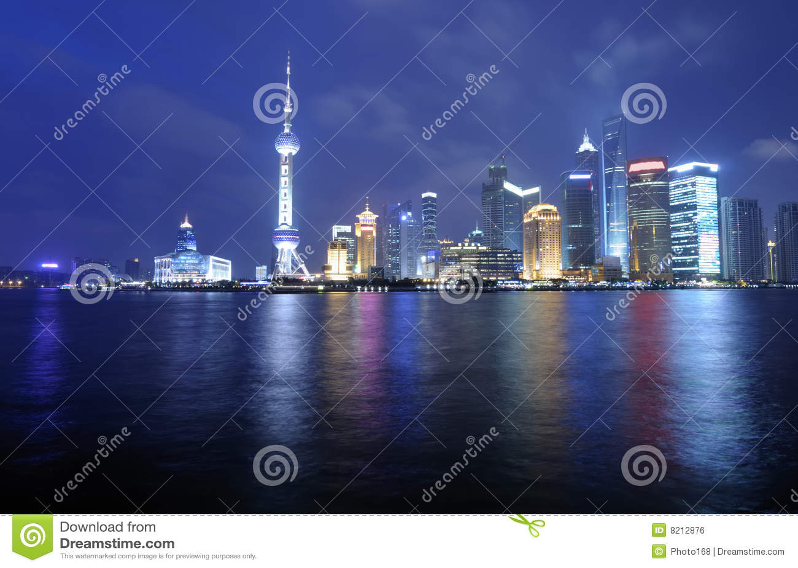 Skyline de Shanghai Pudong na noite