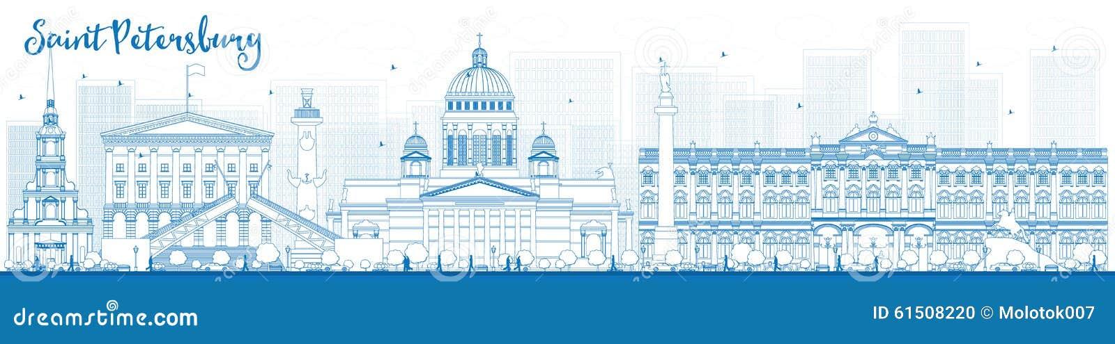 Skyline de St Petersburg do esboço com marcos azuis