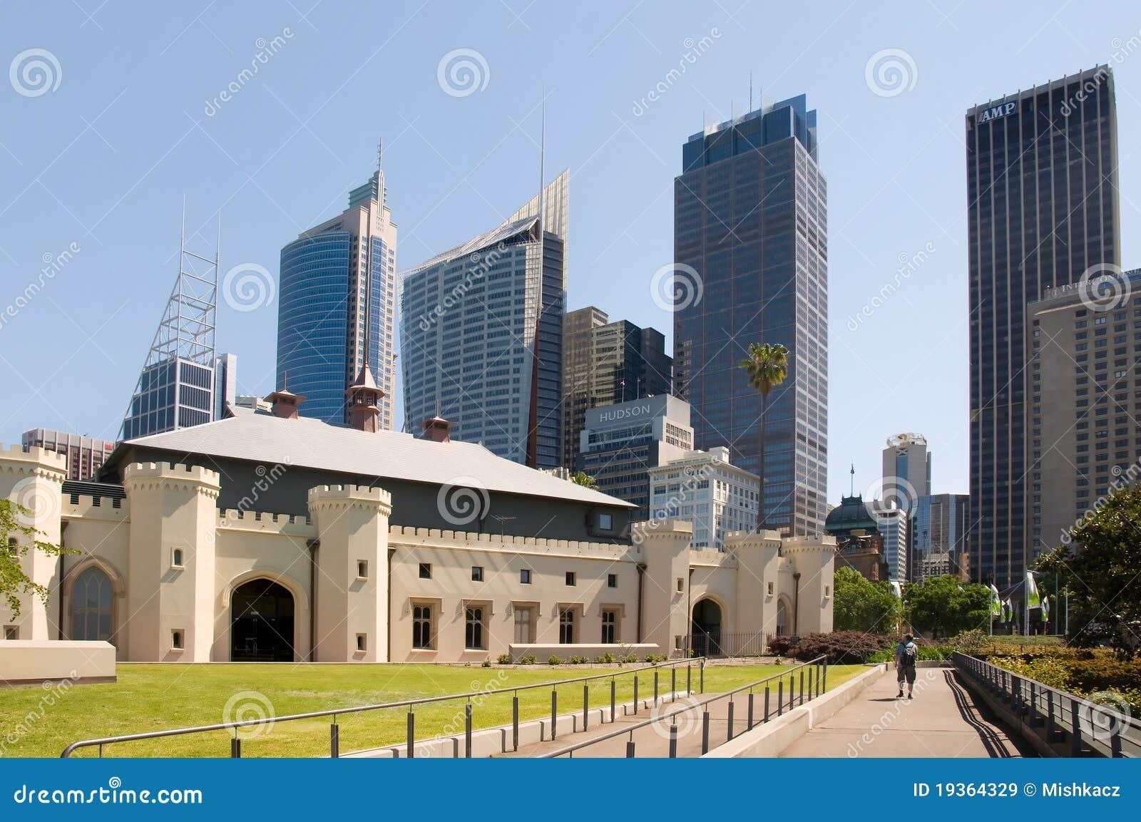 Skyline de Sydney dos jardins botânicos reais