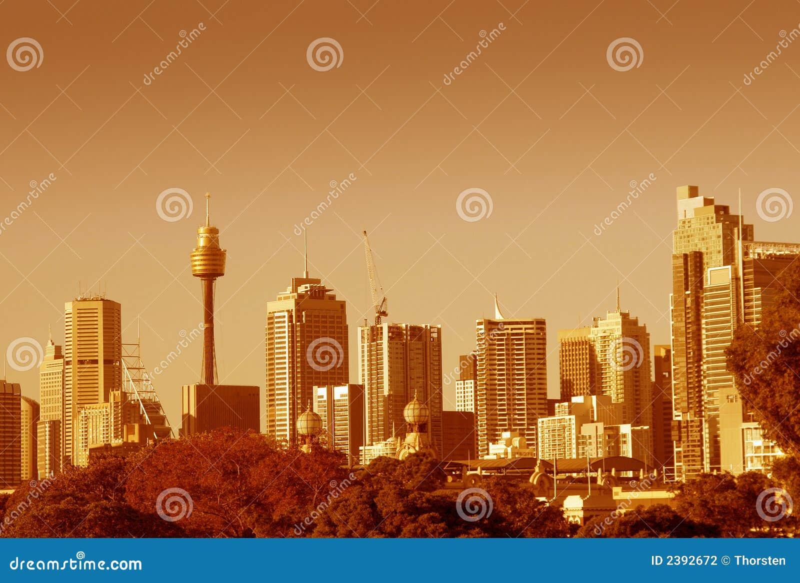 Skyline de Sydney na laranja
