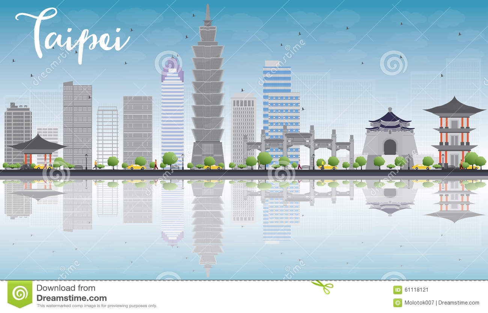 Skyline de Taipei com marcos cinzentos, o céu azul e a reflexão