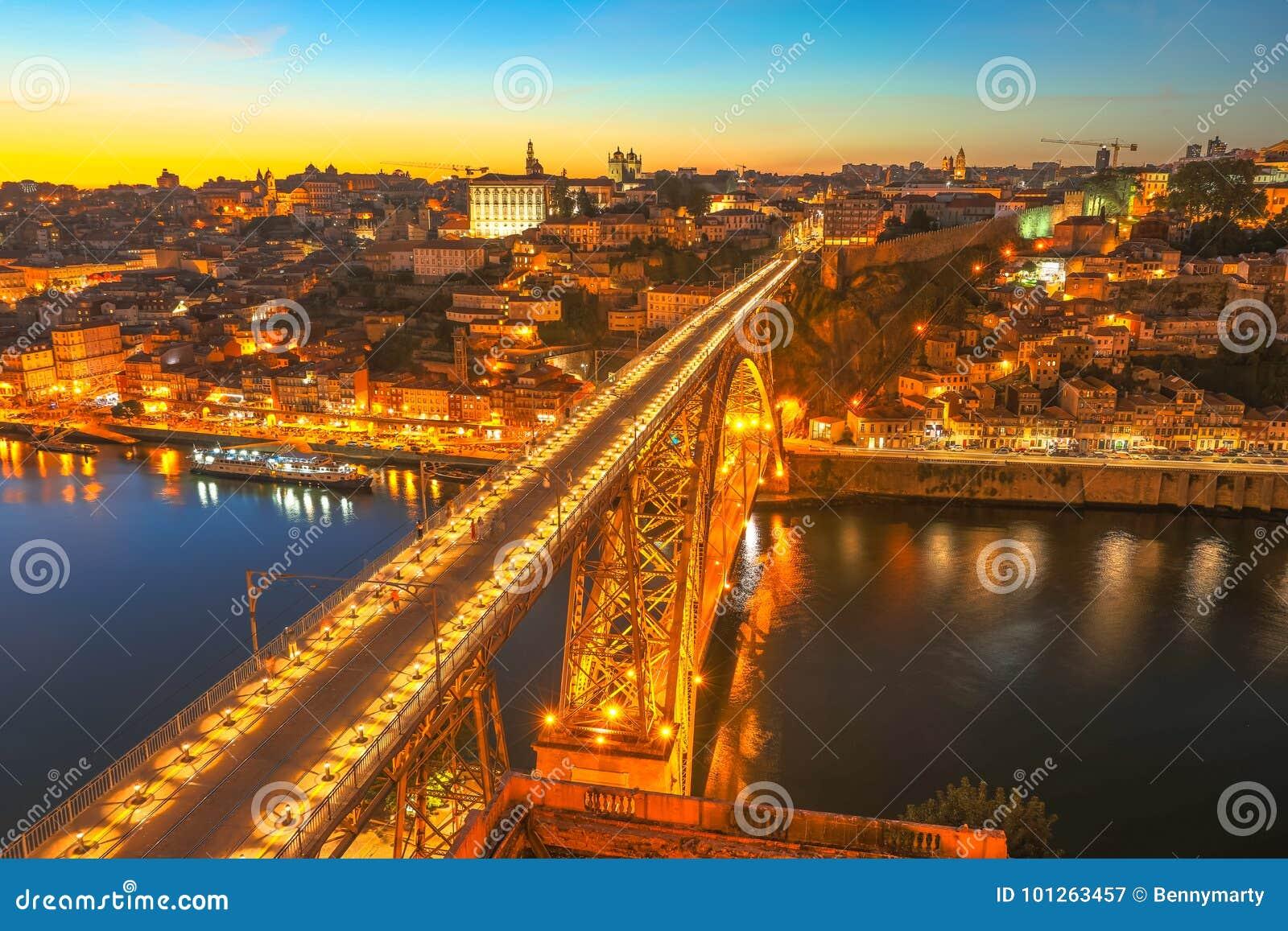 Skyline do por do sol de Porto