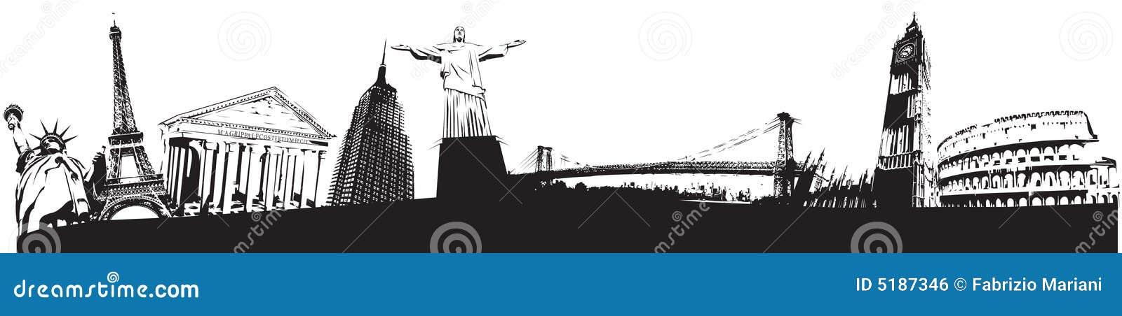 Skyline dos marcos do mundo