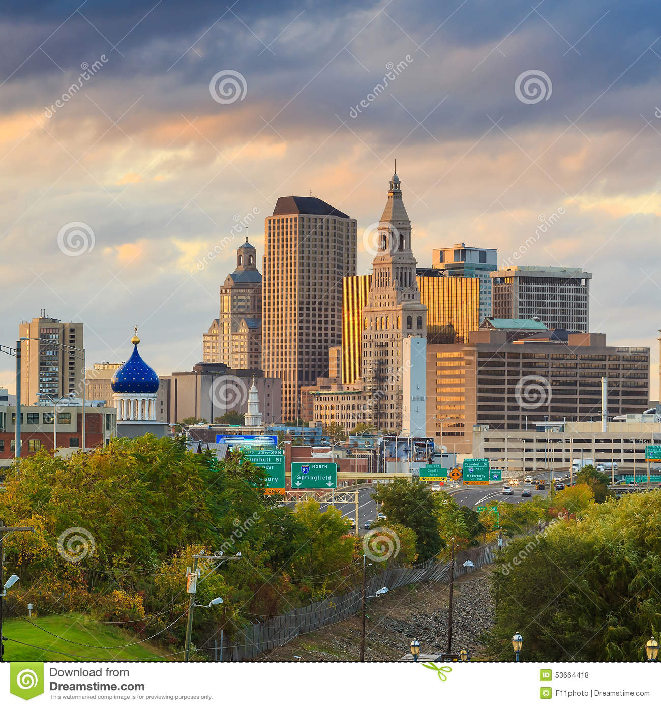 Skyline Of Downtown Hartford, Connecticut From Above