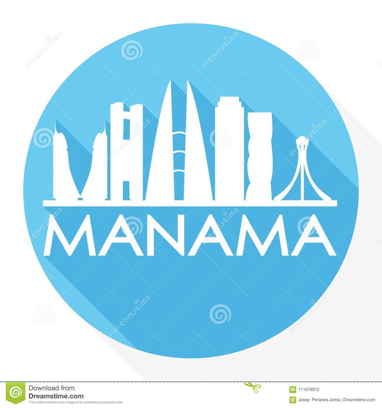 fc7b0fde96d6 Royalty-Free Vector. Manama Bahrain Asia Round Icon Vector Art Flat Shadow  Design Skyline City Silhouette Template Logo