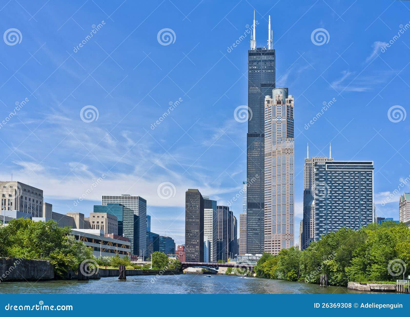 Skyline entlang dem Chicago-Fluss, Illinois
