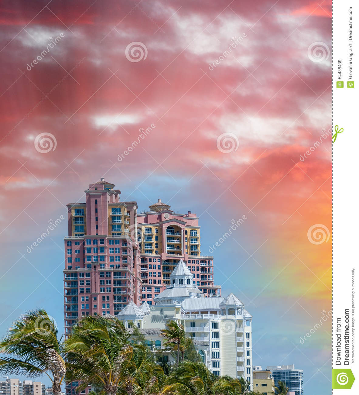 Skyline Of Fort Lauderdale At Sunset, Florida Stock Image