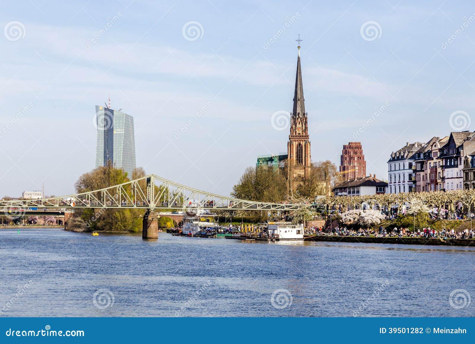 Skyline of Frankfurt with river Main