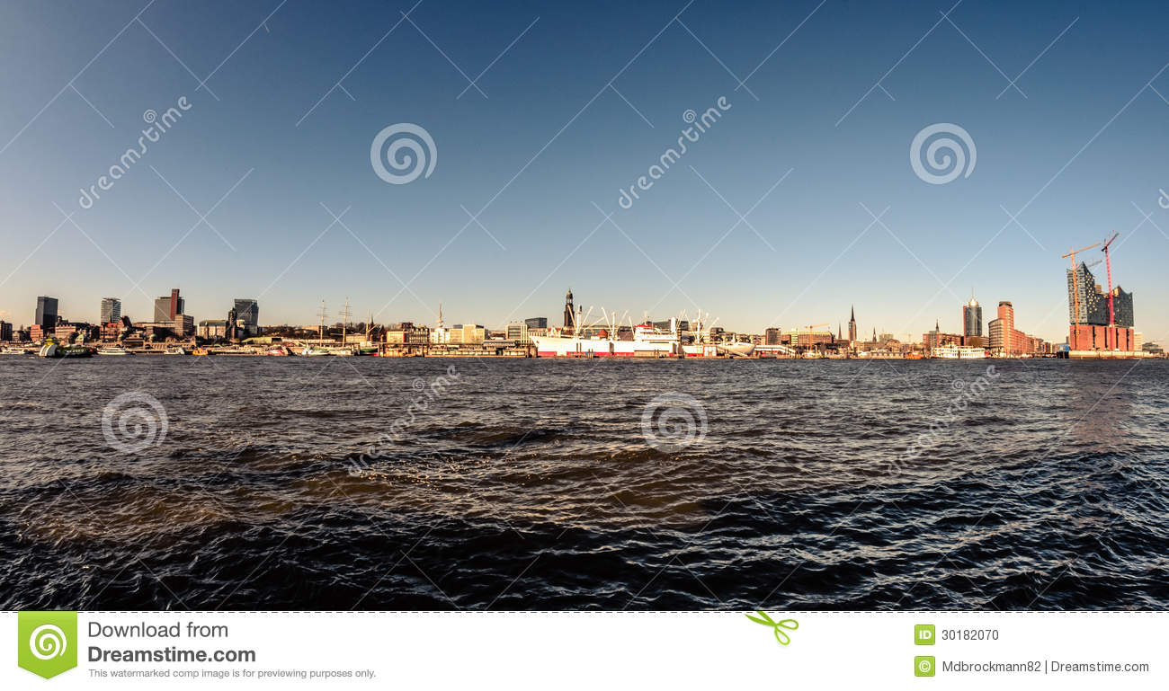 Stock photo hamburg germany riverside new - Hamburg Panorama