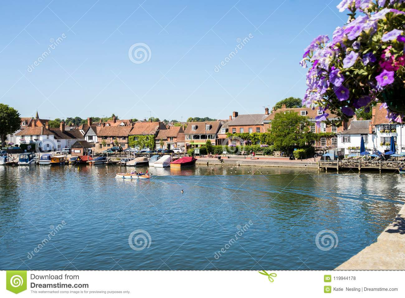 Skyline Of Henley On Thames In Oxfordshire UK With River Thames
