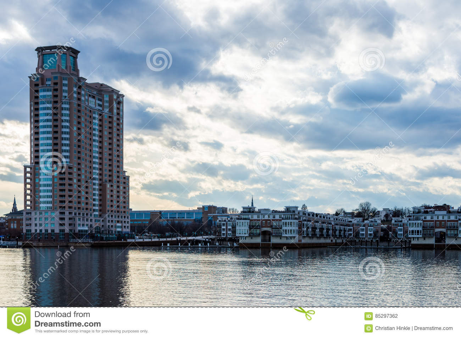 Skyline of Inner Harbor from Fells Point in Baltimore, Maryland