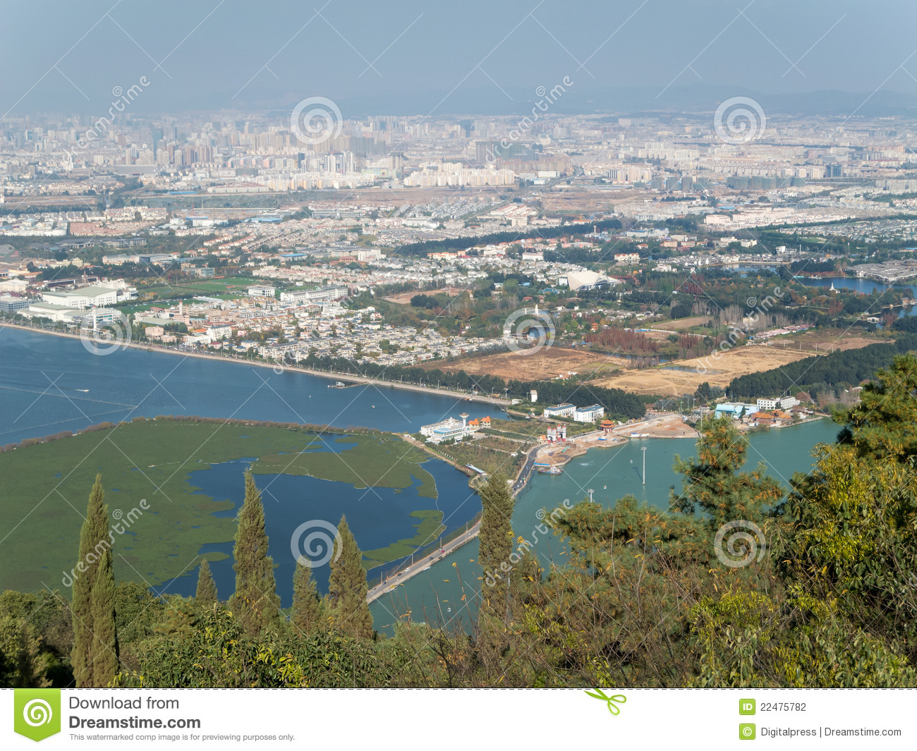 Kunming China  city photos : Skyline of Kunming, China, cityscape with Dian Chi Lake from the ...