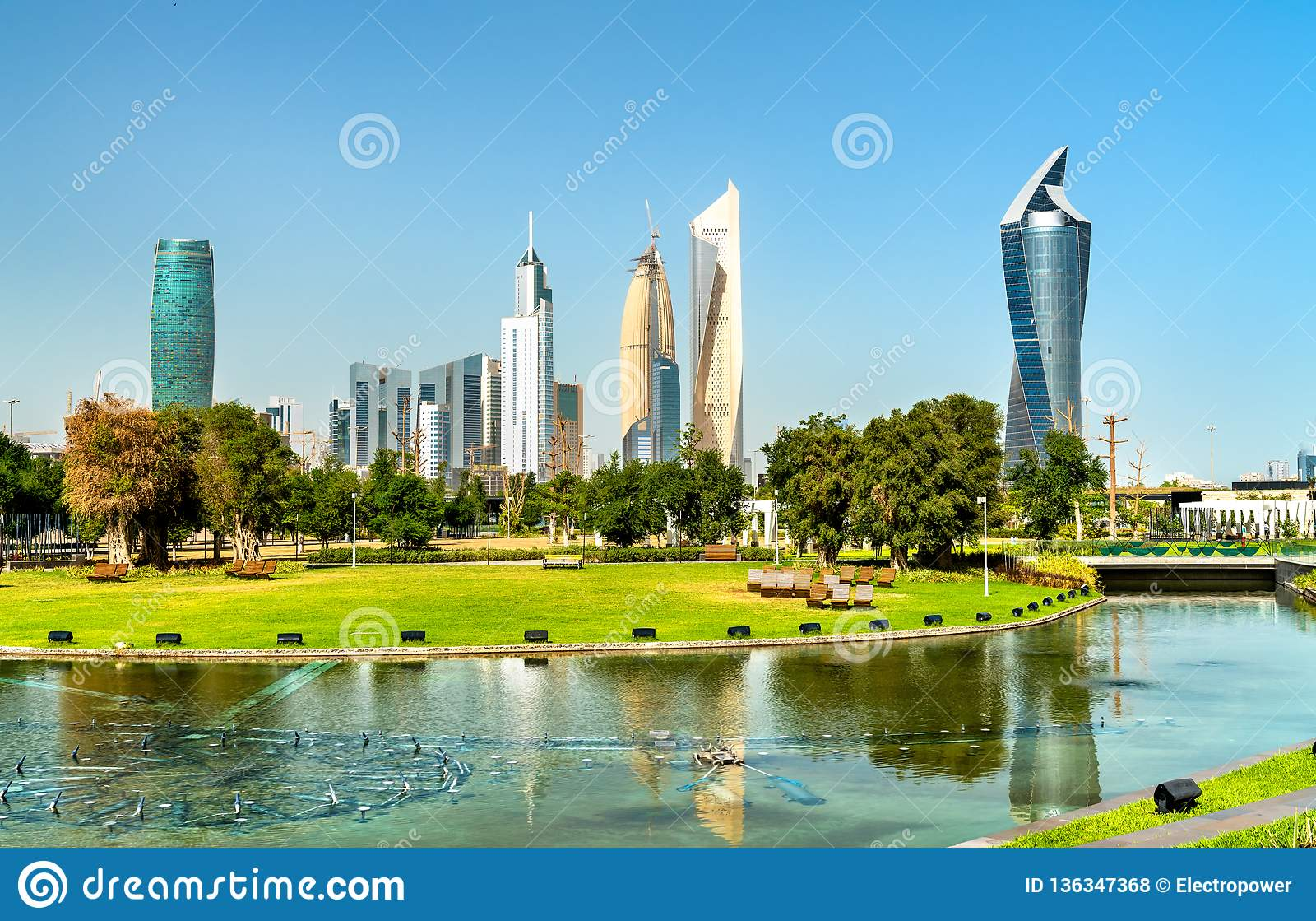 Skyline Of Kuwait City At Al Shaheed Park Stock Photo