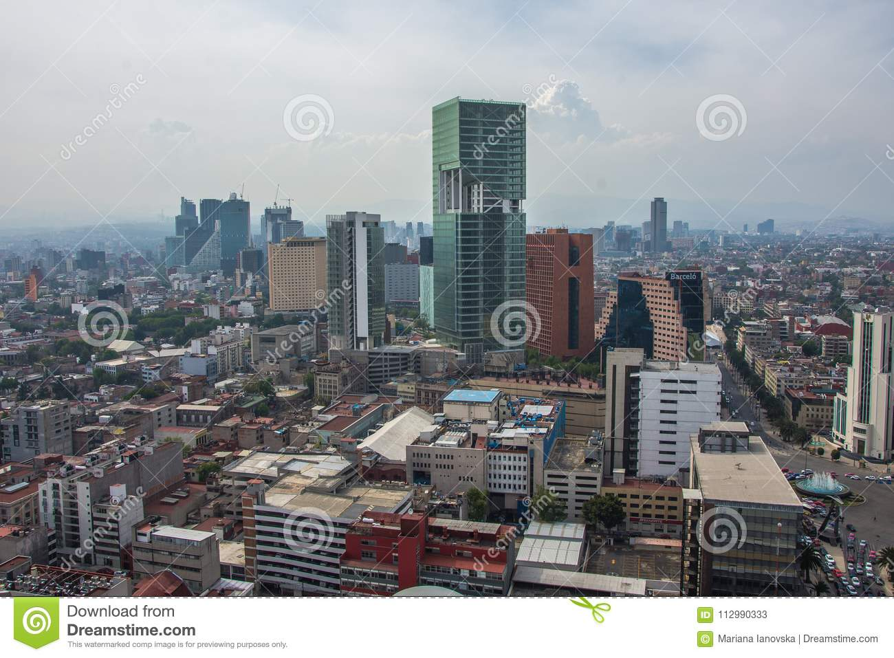 Skyline in Mexico City, aerial view of the city