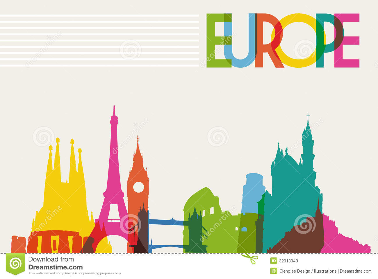 Skyline Monument Silhouette Of Europe Stock Vector Image
