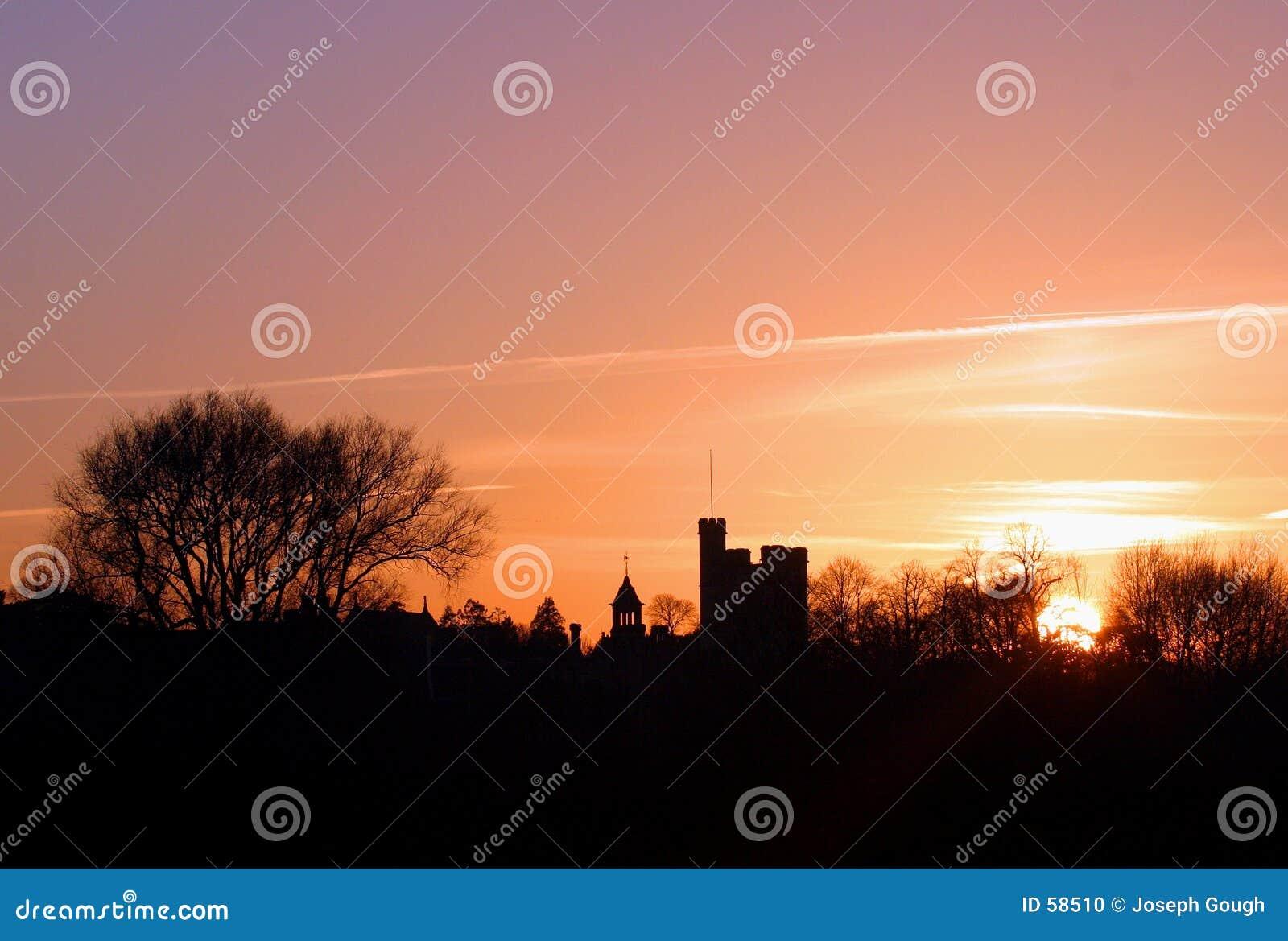 Skyline no por do sol