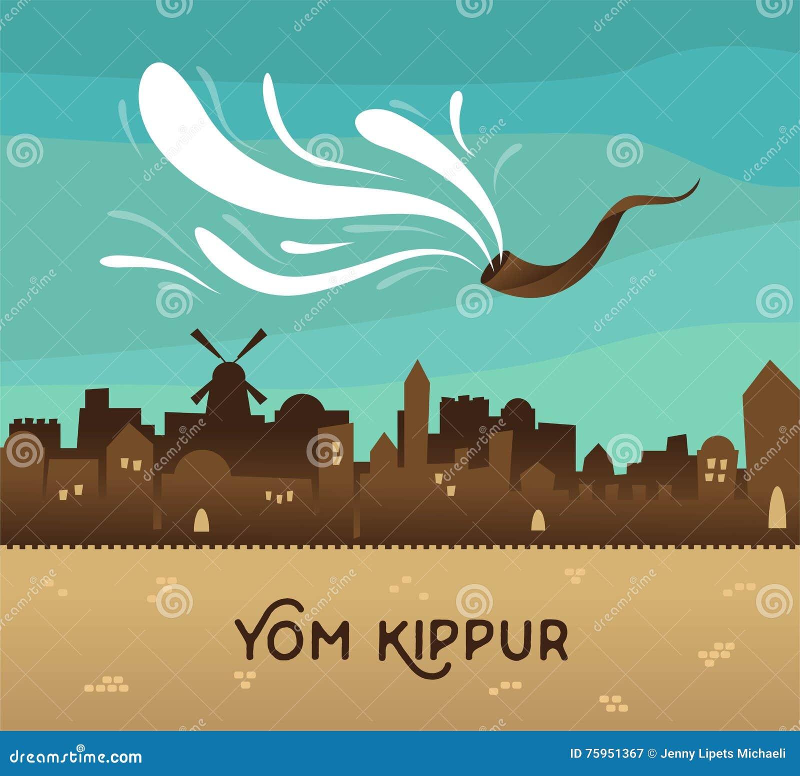 Skyline Of Old City Jerusalem Yom Kippur Jewish Holiday Stock