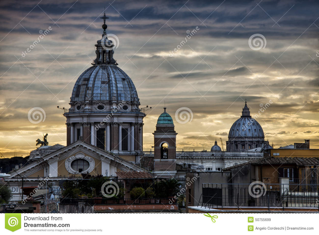 Skyline Rome, domes and monuments. Sunset. Italy