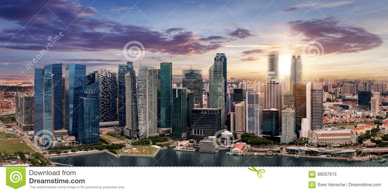 The skyline of Singapore during sunset