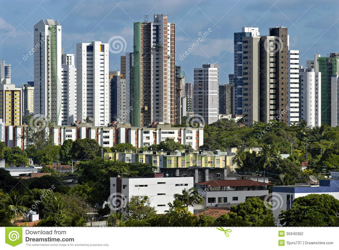 Brazilian Houses Skyline Of Skyscrapers And Low Rise Houses Brazil Stock