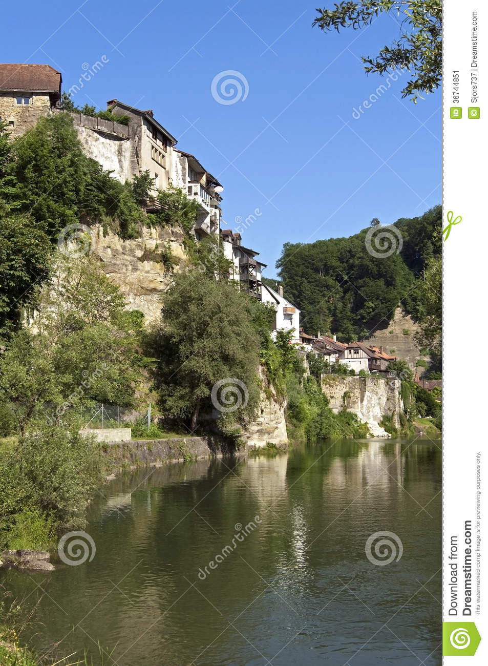 Skyline Of Swiss City Fribourg And Town Wall Stock Image - Image of ...