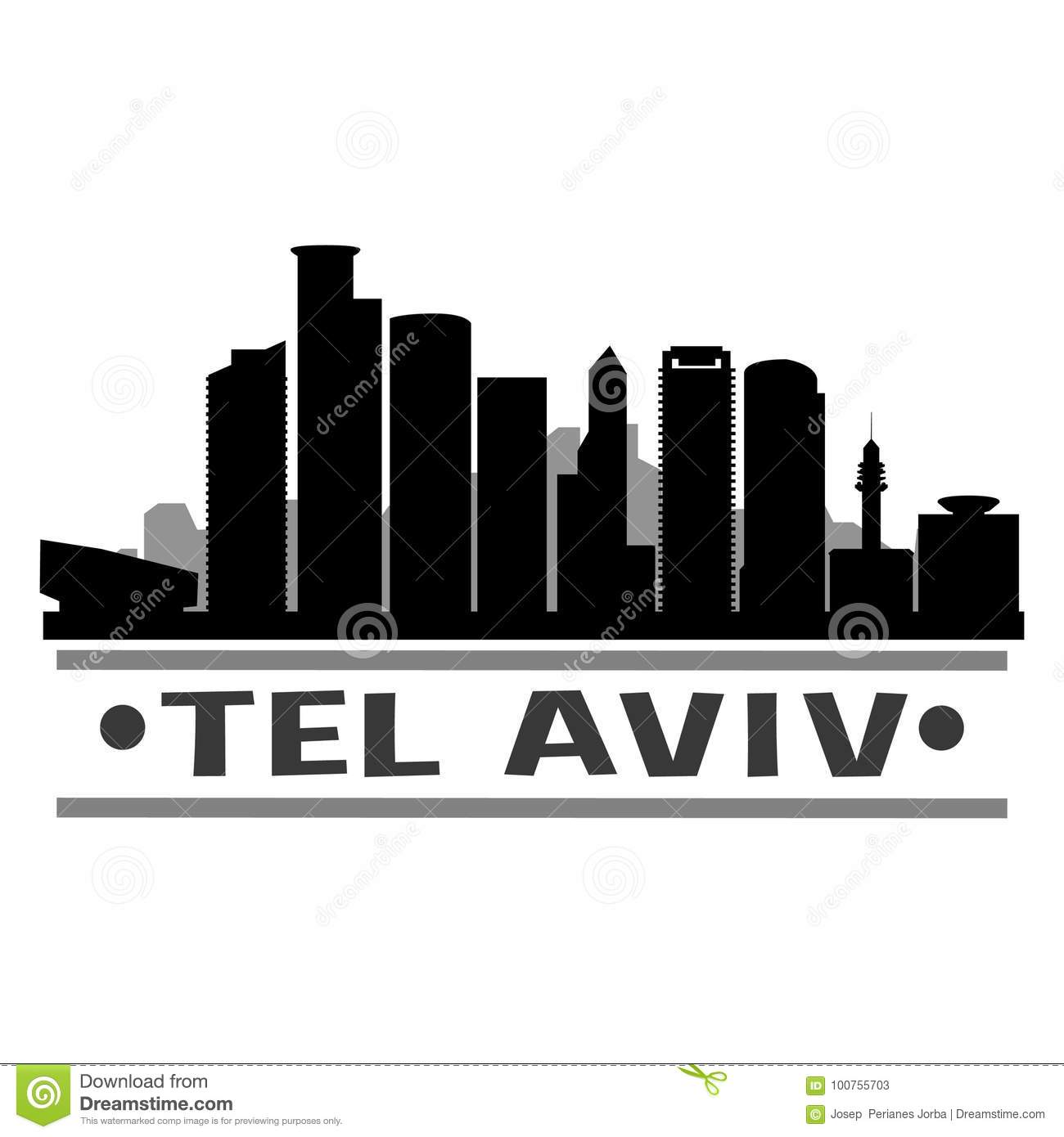 Tel Aviv city Icon Vector Art Design Skyline